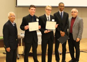 High School students winning awards at the Wearable device challenge