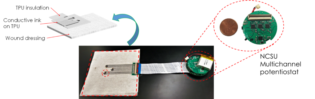 Flexible enzymatic sensors interfacing with testbed electronics for wound monitoring.