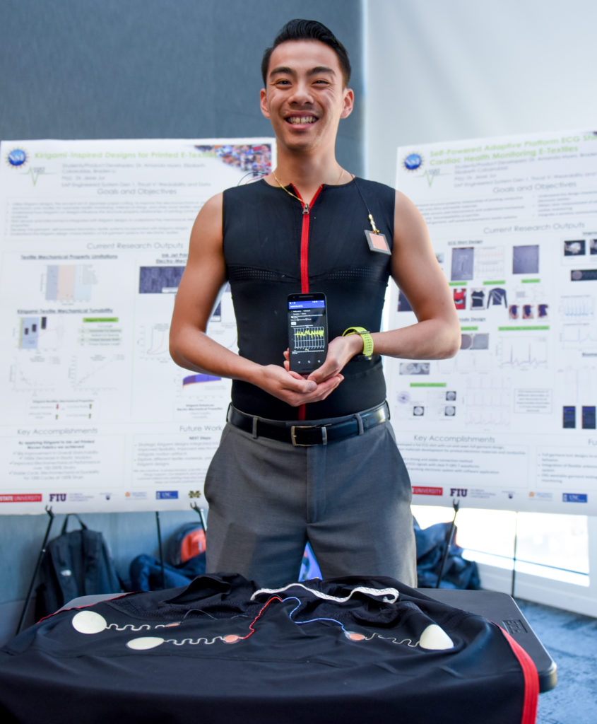 ASSIST student, Braden Li, wearing the ASSIST ECG shirt to monitor and measure cardiac health.