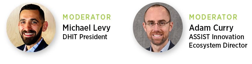 Headshots of Michael Levy (DHIT President) and Adam Curry (ASSIST Innovation Ecosystem Director) as moderators of the COVID19 Unites Us All webinar series
