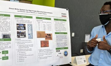 Student presenting research findings at research symposium